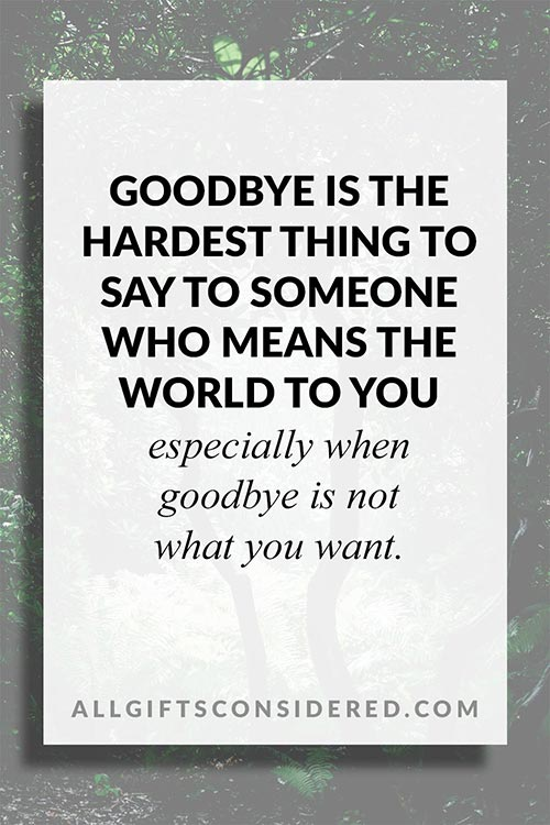 Goodbye Is the Hardest Thing... Quote