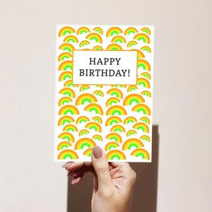 Orange Rainbow Pattern Happy Birthday Card
