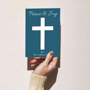Template Photo Christmas Customizable Greeting Card: Simple Blue Cross