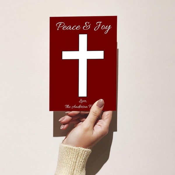 Template Photo Christmas Customizable Greeting Card: Simple Red Cross