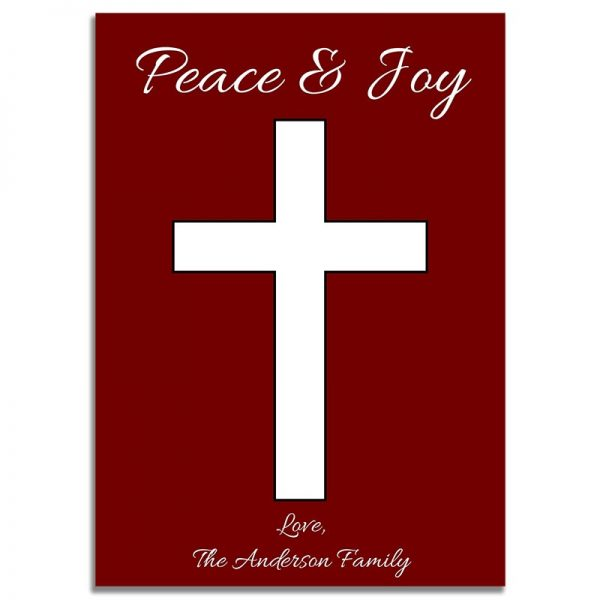 Downloadable Religious Christmas Greeting Card: Simple Red Cross