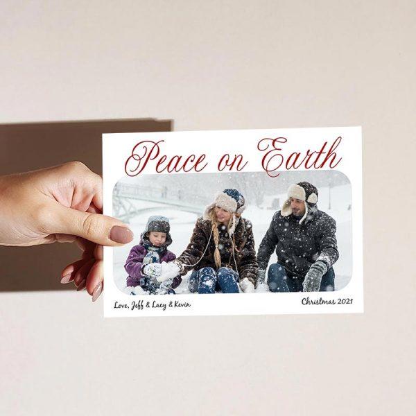 Template Photo Christmas Customizable Greeting Card: Peace on Earth