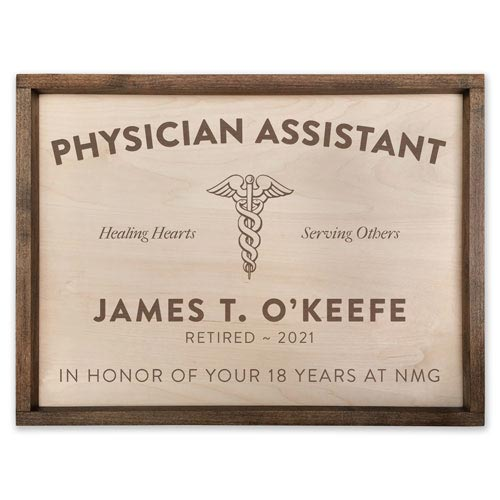 Wooden Signs for Retired Physician Assistant