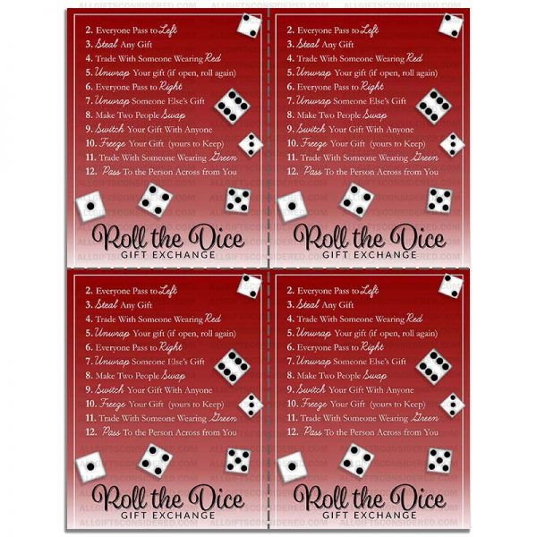 Example Photo for the Roll the Dice Gift Exchange Game - Sharable Sheet