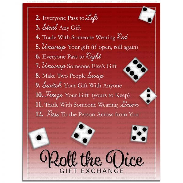 Example Photo for the Roll the Dice Gift Exchange Game