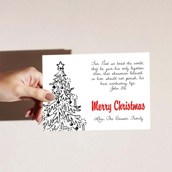 Template Photo Christmas Customizable Greeting Card: Vintage Christmas Tree