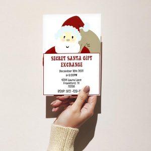 Template Photo Gift Exchange Customizable Invitation Card: Secret Santa Cartoon