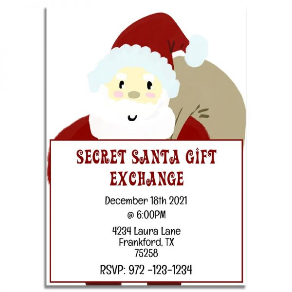 Downloadable Secret Santa Gift Exchange Invitation Card: Santa Claus Illustration