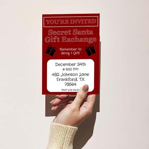 Secret Santa Gift Exchange Party Invite
