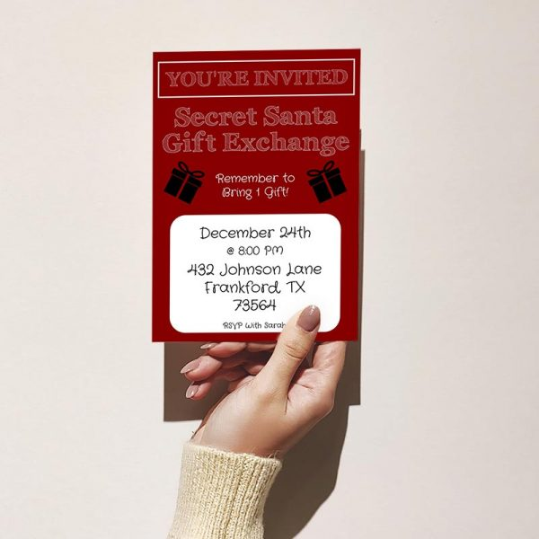 Template Photo Gift Exchange Customizable Invitation Card: Red & White