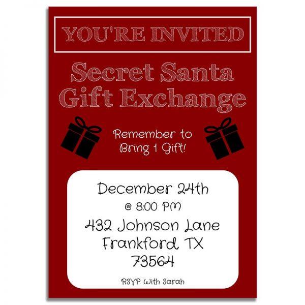 Downloadable Secret Santa Gift Exchange Invitation Card: Red & White