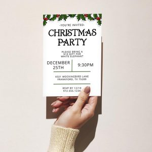 Template Photo Gift Exchange Customizable Invitation Card: Simple Garland