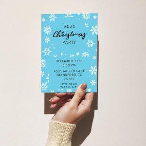 Template Photo Christmas Party Customizable Invitation Card: Snowflake Motif