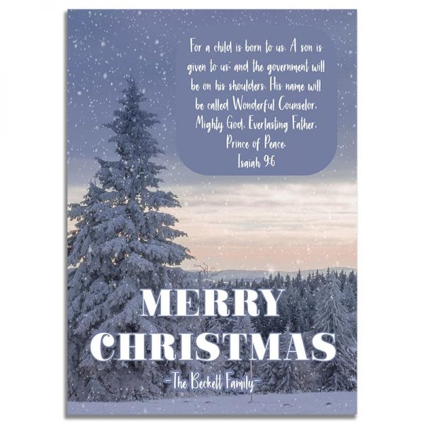 Downloadable Religious Christmas Greeting Card: Snowy Landscape
