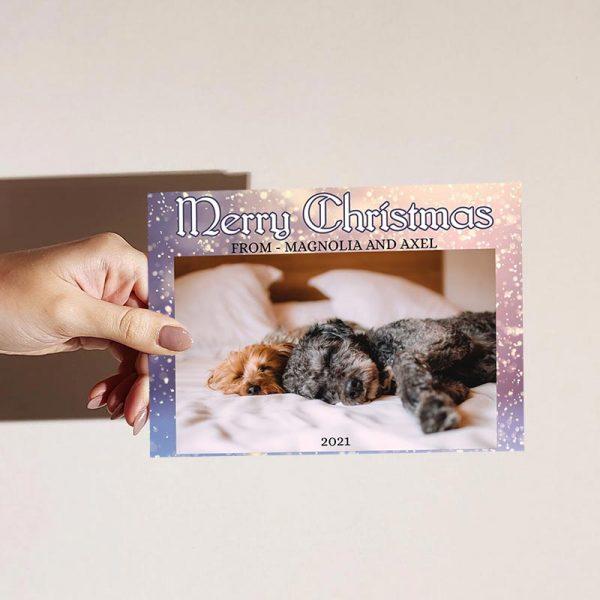 Template Photo Christmas Customizable Greeting Card: Snowy Pet Card