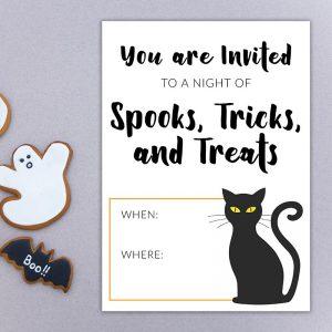 Spooks, Tricks, and Treats Halloween Invite