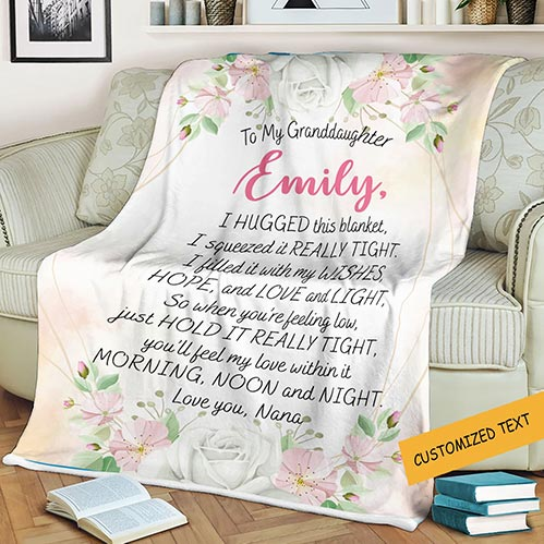 To My Granddaughter Personalized Blanket