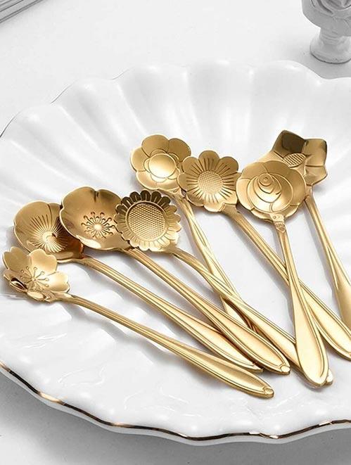 Golden Floral Tea Spoon