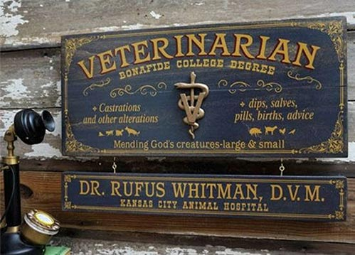 Vintage Veterinarian Sign