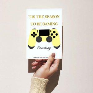 Customizable Christmas Gamer Card: Yellow Controller