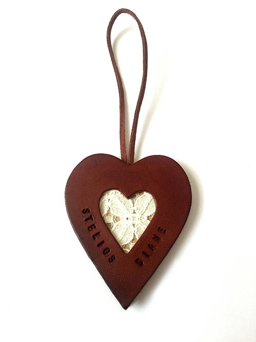 Personalized Leather and Lace Heart