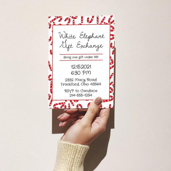Template Photo Gift Exchange Customizable Invitation Card: Candy Cane Madness