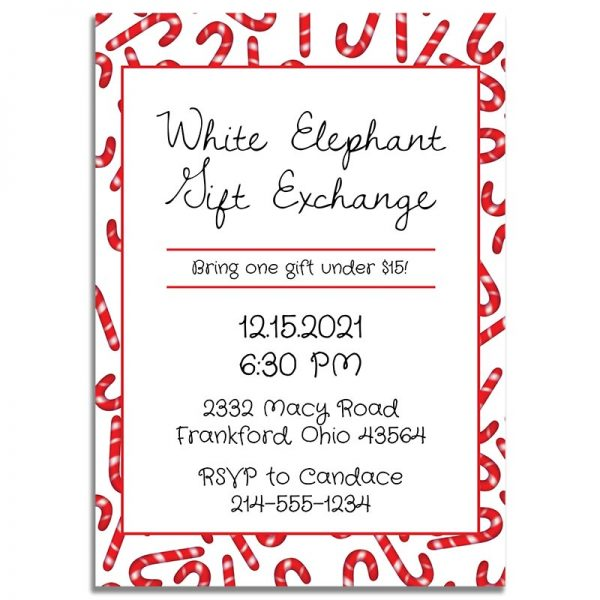 Downloadable White Elephant Gift Exchange Invitation Card: Candy Cane Madness