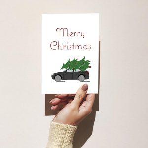 Classic Tree on an SUV Christmas Card