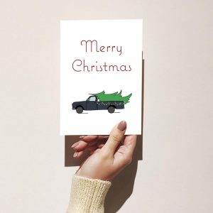 Classic Tree in Truck Christmas Card
