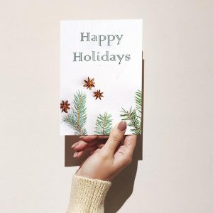 Happy Holidays Green Leaves Christmas Card