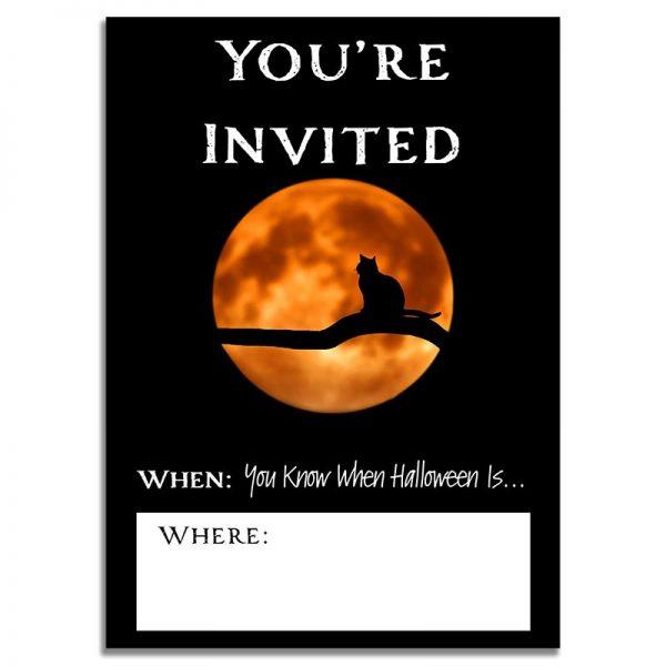 5x7 Black Cat & Full Moon Halloween Invitation Download