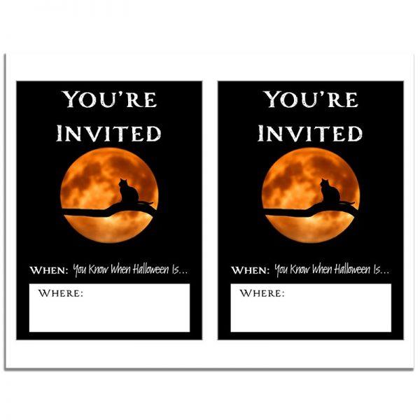 8.5x11 Black Cat & Full Moon Halloween Invitation Download